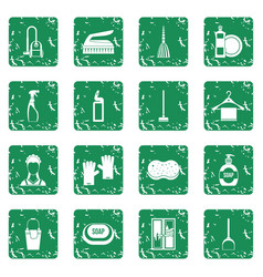 House cleaning icons set grunge vector