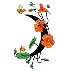 nasturtium butterflies and moon vector image vector image