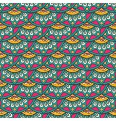 Ethnic doodle seamless pattern in retro colors vector image vector image