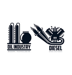 flat icon gasoline engine oil refinery set vector image vector image