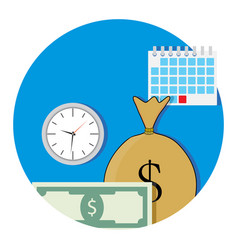 money and business time icon flat vector image