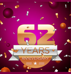 Sixty two years anniversary celebration design vector