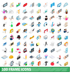 100 frame icons set isometric 3d style vector