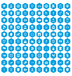 100 shield icons set blue vector