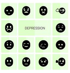 14 depression icons vector