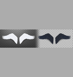 3d realistic pair black and white angel wings vector image