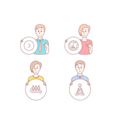 48 hours forward and queue icons christmas tree vector