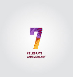 7 year anniversary elegant rainbow template design vector