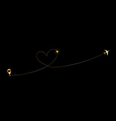 Airplane flying gold dash line heart logo loop vector