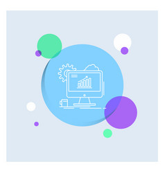 analytics chart seo web setting white line icon vector image
