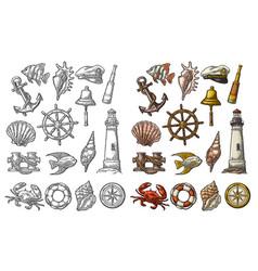 anchor wheel bollard hat compass rose shell vector image