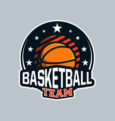 badge or emblem basketball in modern professional vector image