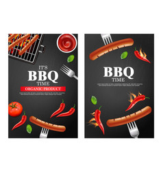 Bbq grill party banners set realistic vector