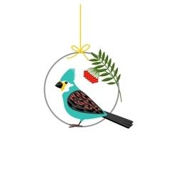 Bird sitting on the circle vector image