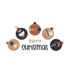 Boho christmas and new year ball greeting card vector