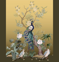 Border in chinoiserie style with herons peacock vector