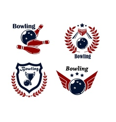 Bowling emblems or badges vector image