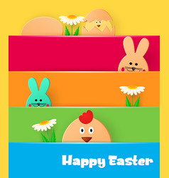bright greeting card with happy easter easter vector image