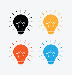 bulb lamp with idea text inside in different color vector image