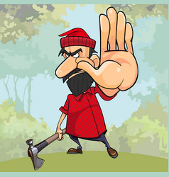 Cartoon angry woodsman with an axe in woods vector
