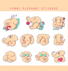 cartoon elephant stickers vector image