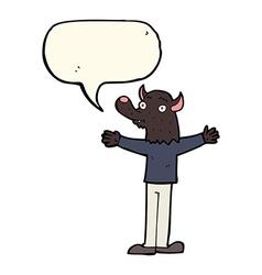 Cartoon friendly werewolf with speech bubble vector