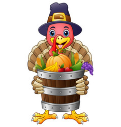 Cartoon turkey with basket full of fruits and vege vector
