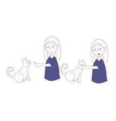 Cat rubbing girl hand with cheek i trust you in vector
