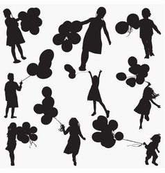child holding balloons silhouettes vector image