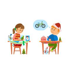 Christmas holidays of kids making handicraft gift vector
