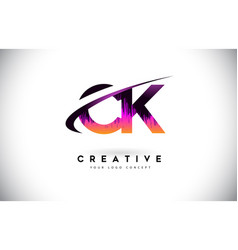 Ck c k grunge letter logo with purple vibrant vector