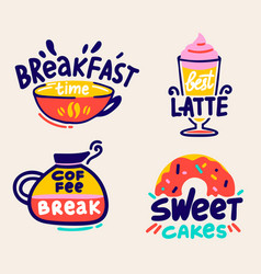 coffee break and breakfast time labels set vector image