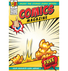 Colorful comic magazine cover template vector
