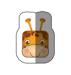 Colorful face sticker of giraffe in square shape vector