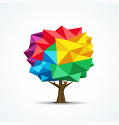 Colorful tree icon geometric polygon design vector