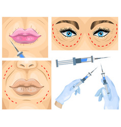 Cosmetic surgery concept wrinkle treatment vector