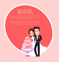 couple cutting wedding cake together card vector image