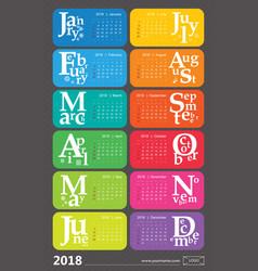Creative calendar 2018 with selected holidays vector