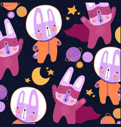 cute colorful little cats in space suits and super vector image