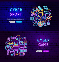 cyber game neon banners vector image