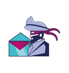 cybernetic pirate with envelope mail vector image