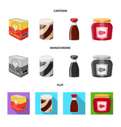 Design of can and food sign set of can and vector