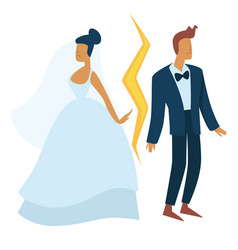Divorce and family separation bride and groom vector