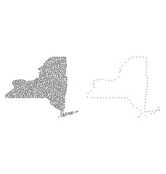Dotted contour map of new york state vector