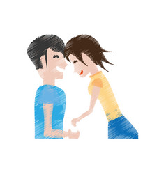 Drawing couple laughing together vector
