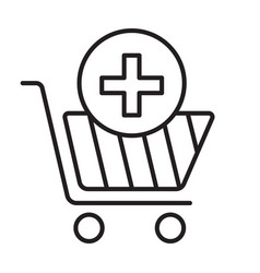 Drugstore shopping linear icon vector