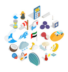 Education abroad icons set isometric style vector