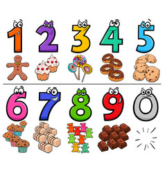 Educational cartoon numbers set with sweets vector