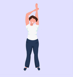 fat woman raising hands up standing pose obese vector image