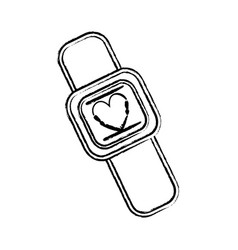 figure cute smartwatch technology with fitness app vector image